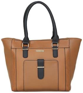 Addons Women Solid PU - Tote Bag Tan