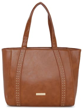 Addons Women Solid Pu - Tote Bag Tan