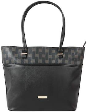Addons Women Solid Pu - Tote Bag Black