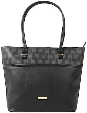 Addons Women Solid PU - Tote Bag Black