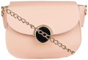 Addons Pink PU Solid Sling Bag
