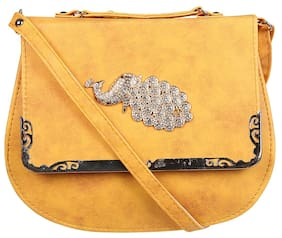ADINE Women Solid Leather - Sling Bag Yellow