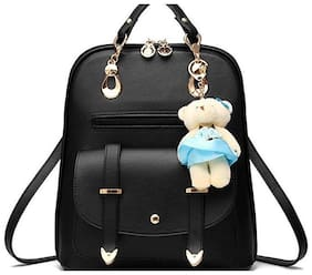 Aeoss Black Faux Leather Backpack