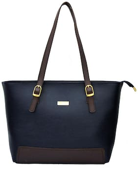 AGINOS Blue Faux Leather & PU Handheld Bag