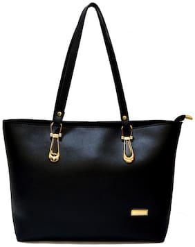 AGINOS Black Faux Leather Handheld Bag
