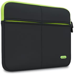 AirCase 15-inch to 15.6-inch Designer Laptop Protective Sleeve With Multipurpose Utility Pocket (Black)