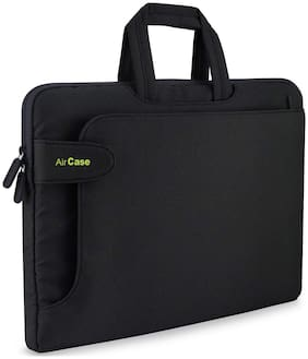 AirCase C17 13-inch to 14-inch Laptop Sleeve with Handle, Rugged, Multifunction Bag - Folio (Black)
