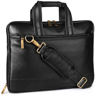 AirCase Black Leather Laptop Sleeve