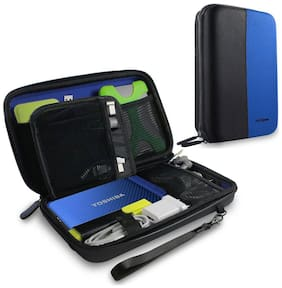 AirCase Universal Electronic Travel Small Gadget & Accessories Organizer (Blue)