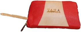 Aleena Women Embellished Faux Leather - Clutch Red