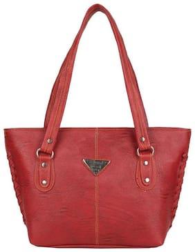 Aliado Maroon Faux Leather Handheld Bag