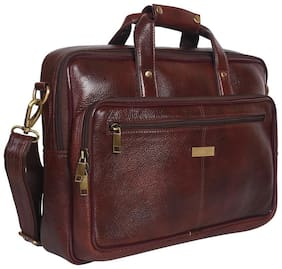 ALLEEN LEER Brown Leather Laptop Messenger Bag