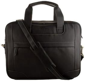 Allen Cooper Black Men's Leather Office Bag