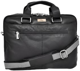 Allen Cooper Black Genuine Leather Laptop Briefcase/Office Bag
