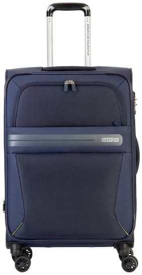 American Tourister Cabin Size Soft Luggage Bag ( Blue , 8 Wheels )