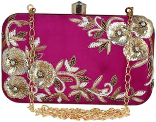Anekaant Women Embellished Fabric - Clutch Purple