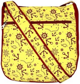 Anekaant Yellow Canvas Solid Sling Bag