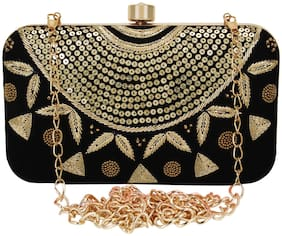 Anekaant Women Embellished Fabric - Clutch Black