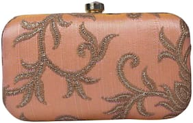 Anekaant Women Embellished Synthetic - Clutch Beige