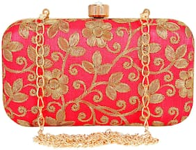 Anekaant Women Floral & Embellished Synthetic - Clutch Pink