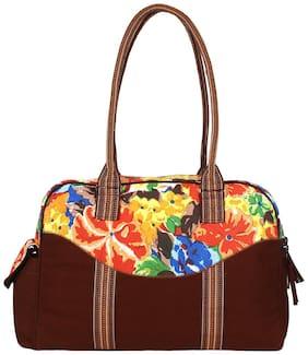 Anekaant Florid Brown Canvas Small Travel Bag