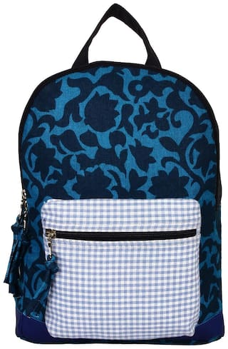 Anekaant Flora Blue Canvas Backpack