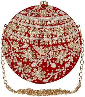 Anekaant Women Embellished Fabric - Clutch Red