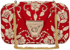 Anekaant Women Embellished Velvet - Clutch Red