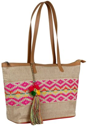 Anekaant Women Canvas Tote Bag - Pink