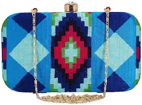 Anekaant Women Blue Fabric Clutch