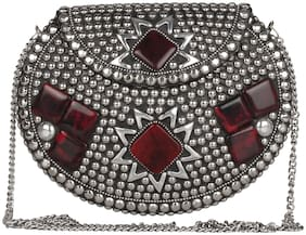Anekaant Women Embellished Metal - Clutch Silver