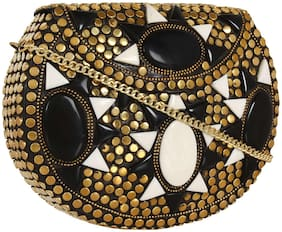 Anekaant Women Embellished Metal - Clutch Gold