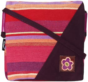 Anekaant Multi Cotton Striped Sling Bag