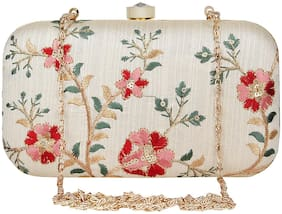 Anekaant Tulle Embroidered Faux Silk Clutch