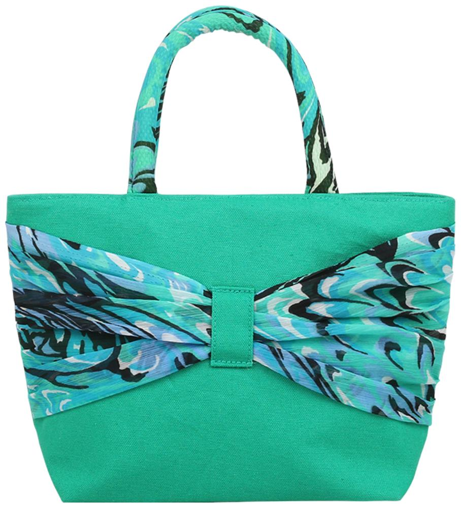 Anges Bags Green Canvas Handheld Bag