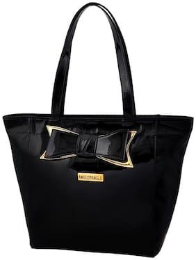 Anglopanglo Women Solid Pu - Tote Bag Black