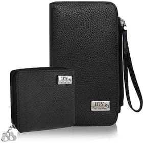 Anglopanglo PU Leather Women and Girls Black Clutch & Wallet Combo