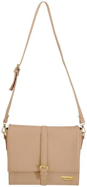 Anglopanglo Women Solid Pu - Sling Bag Beige