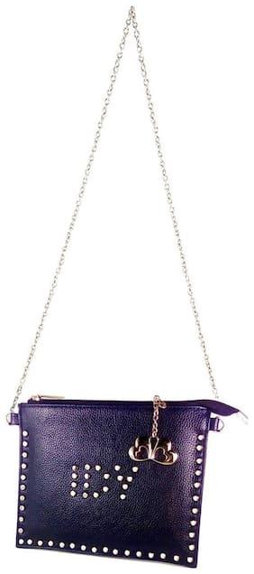 Anglopanglo Women Solid Pu - Sling Bag Blue