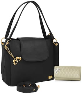 Anglopanglo PU Leather Women and Girls Clutch & Wallet Combo (Black, White)