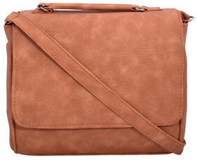 ANICKS Women Solid Pu - Sling Bag Tan