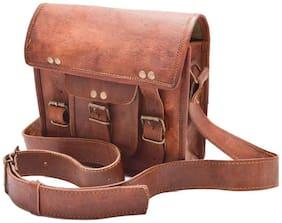 Anshika International Genuine Leather Brown Shoulder Messenger Passport Bag Murse Sling Bag Leather Bag Cross Body Bag Man Purse notebook bag size L (11) H (9)W (3)