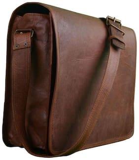Anshika International perfect 39.62 cm (15.6 inch) genuine leather full flap laptop messenger bag
