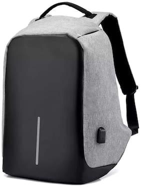 Anshika International Black Polyester Backpack