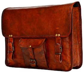 Anshika International Leather Laptop Messenger Bag with Front Pocket Brown size 15 x 11 x 4 inch