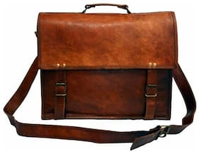 Anshika International Leather Messenger Bag cum satchel Brown size 15 x 11 x 4 inch