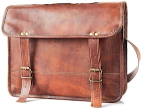 Anshika International 38.1 cm (15 inch) vintage leather laptop office briefcase bag