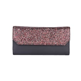 Antin Women Black Faux Fur Clutch