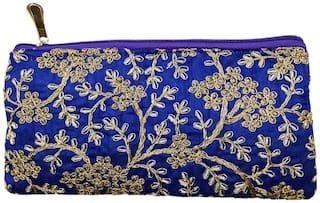 Antique golden Color embroidered purse Zardozi embroidery floral clutch Purse Mobile Pouch  (Blue)