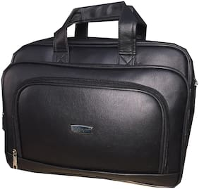 Apnav 35 ltr Black Faux leather Laptop briefcase & Laptop messenger bag